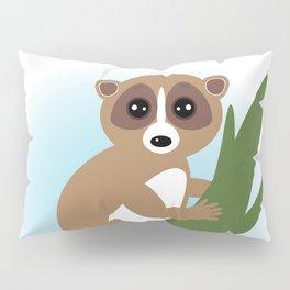 lemur on green branch on white background Pillow Sham