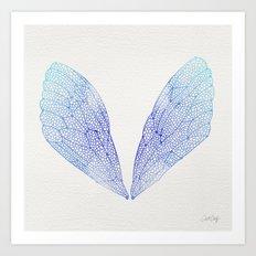Periwinkle Ombré Cicada Wings Art Print