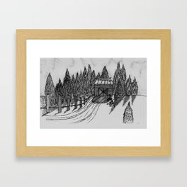 SHED IN THE SNOW Framed Art Print