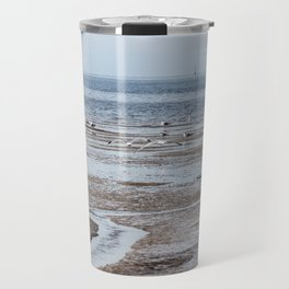 expanse of seagulls on the beach by the sea Travel Mug