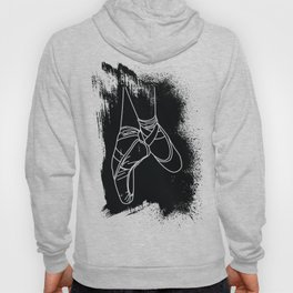Outline of Ballet Pointe Shoes on Black Background Hoody