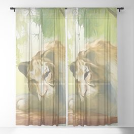 Chilling Tiger Sheer Curtain