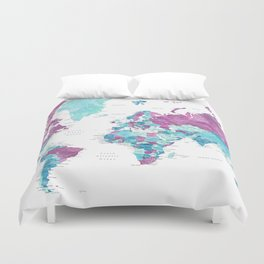 """Purple and turquoise watercolor world map with cities, """"Blair"""" Duvet Cover"""