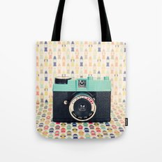 Blue Diana Mini Camera - Retro Vintage Photography Tote Bag