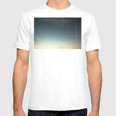 scratched sky MEDIUM Mens Fitted Tee White