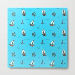 Happy Sailing Pattern with blue background Metal Print