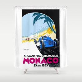 1933 Monaco Grand Prix Race Poster  Shower Curtain