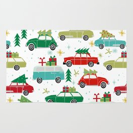 Christmas holiday vintage cars classic festive christmas tree snowflakes winter season Rug