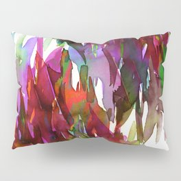 FERVOR 3 Colorful Bold Abstract Autumn Fall Crimson Red Purple Mauve Green Watercolor Painting Art Pillow Sham