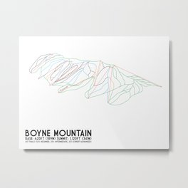 Boyne Mountain, MI - Minimalist Trail Art Metal Print