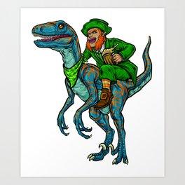 Leprechaun Rides Velociraptor | St. Patrick's Day Art Print