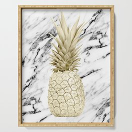 Gold Pineapple on Marble Serving Tray