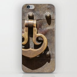Weathered Brass Castle Knocker of Old World Europe iPhone Skin
