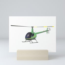 Light Green and Yellow Helicopter Mini Art Print