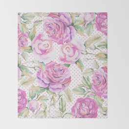 Watercolor hand painted pink lavender roses polka dots Throw Blanket