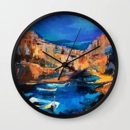 Night Colors Over Riomaggiore - Cinque Terre Wall Clock