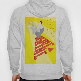 Morning Rooster Rise and Shine Typography Illustrated Print Hoody