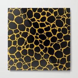 Mustard Yellow Black Turtle Shell Metal Print