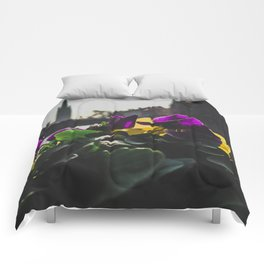 Bruges yellow and purple flowers Comforters