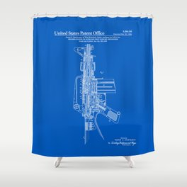 AR-15 Semi-Automatic Rifle Patent -Blueprint Shower Curtain