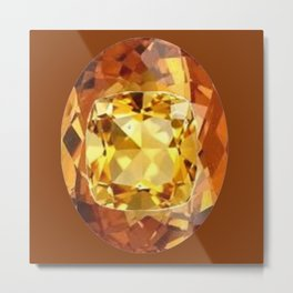 HONEY YELLOW  CITRINES SEPTEMBER  BIRTHSTONES ART Metal Print