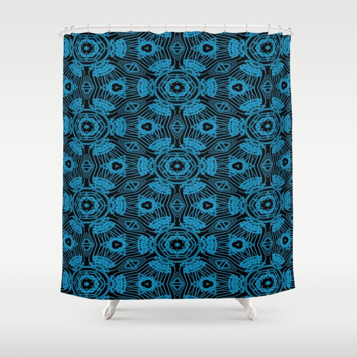 Black and Blue String Art 4406 Shower Curtain