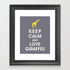 Keep Calm and Love Giraffes Framed Art Print