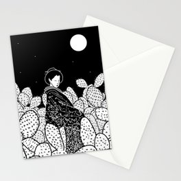 Japanese Lady in a Cactus Field at Night Stationery Cards