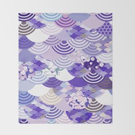 Nature background with japanese sakura flower, Cherry, wave circle. Ultra Violet Color of the Year Throw Blanket