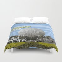 spaceship Duvet Covers featuring spaceship earth by studiomarshallarts