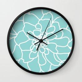 peony blue Wall Clock