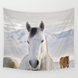 Rustic Winter Horse Wall Tapestry