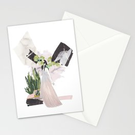 pink & plants 4 Stationery Cards