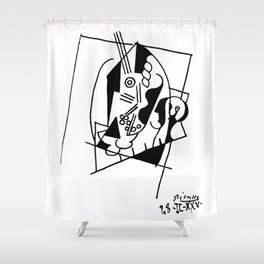 Picasso Guitare et Boîte (Guitar and Box) 1925 Artwork Reproduction Shower Curtain