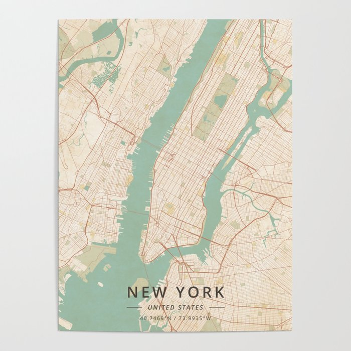 New York United States Vintage Map Poster By Designermapart - Us-map-poster