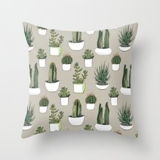 Watercolour cacti & succulents - Beige Throw Pillow