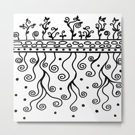 Strong Roots for Growth - Black and White Metal Print