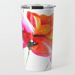 Abstract flower colorful painting Travel Mug