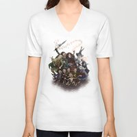 aragorn V-neck T-shirts featuring The Happy Fellowship by Ginger Opal