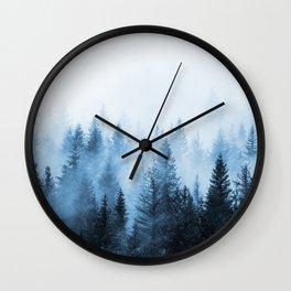 Misty Winter Forest Wall Clock