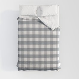 Obviously Pink Gingham Cloudy Sky Duvet Cover