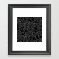 Snaky Fleur, Black and Grey Framed Art Print