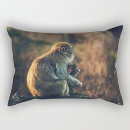 Macaque Motherly Love Rectangular Pillow