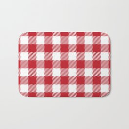 Buffalo Plaid - Red & White Bath Mat