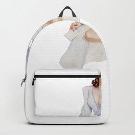 Nostalgic Pin Up Girls Brunette Blue Wrap Dress Bachelor Party Pinup Girl Backpack