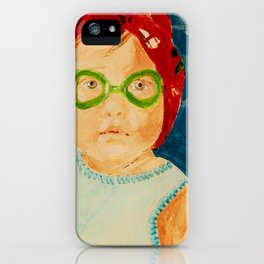 Maddie with Goggles, a painting by Karen Chapman iPhone Case