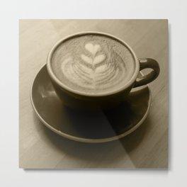 Cappuccino Heart Metal Print