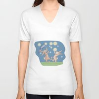 fireflies V-neck T-shirts featuring Bunnies Catching Fireflies by Meant for a Moment Designs