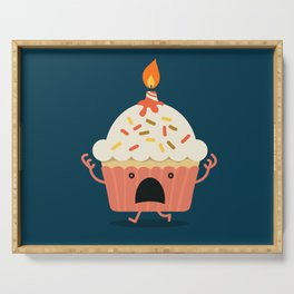 Cupcake on fire Serving Tray