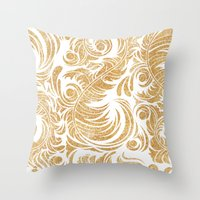 Gold Glitter Leaves Throw Pillow
